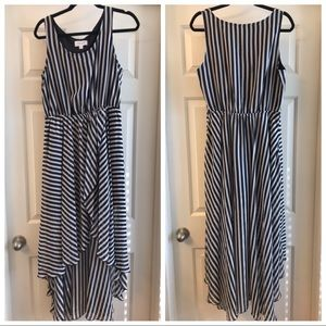L Elle High Low Black and White striped dress